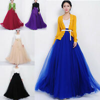 Womens lady Elastic Waist Mesh Tiered Dress Summer Chiffon Long Maxi Skirt