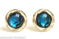 9ct Gold Abalone (Paua Shell) Stud earrings Gift Boxed Made in UK