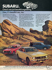 1972 Print Ad of Subaru GL & DL Coupe Sedan & Wagon