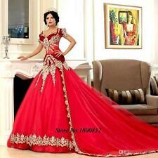 Kurze Ärmel Rot Hochzeitskleid Gold Applikationen Dubai Arabien Brautkleider Neu