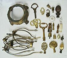 Vintage Lamp Part Lot Harps Base Finials Hardware Brass Repair Refurbish