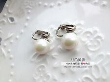 Boucles d`Oreilles Clips Argenté Petit Perle Coloré Simple Retro J2