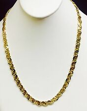 """10k Solid Yellow Gold Tiger Eye Link men's Chain/Necklace 22""""  8 MM 64 grm"""