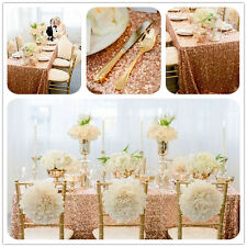 "90""*132"" Sparkly Rose Gold Rectangle Sequin Tablecloth for Wedding Banquet"