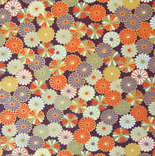 Kiku Chrysanthemum Purple Japanese Cotton Fabric Per Half Metre 50cm TG106