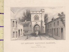 c1815 ANTIQUE SMALL GEORGIAN PRINT ~ ANCIENT GATEWAYBARKING ESSEX FIRE BELL GATE