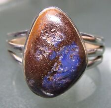 Sterling silver unusual boulder opal stone ring UK P½-¾/US 8.