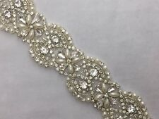 Rhinestone Pearl Beaded Bridal Trim 1/2yd Applique Sash Headband Dress FREE SHIP