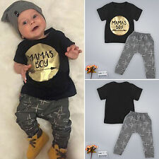 Summer 2pcs Newborn Baby Boys Outfits T-shirt+Pants Leggings Clothes Set 0-24M