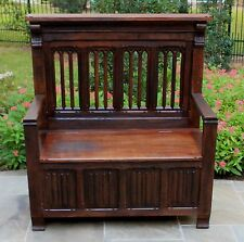 Antique French GOTHIC Oak Bench Banquette Settee Hall Bench Pew Linen Fold