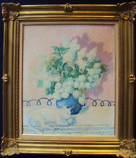 BEAUTIFUL ORIGINAL YVONNE CANU OIL PAINTING, STILL LIFE OF WHITE LILACS AND CAT