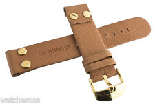 Genuine Techno Master 22mm Brown Leather Watch Band Strap