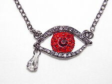 Cute Evil Eye With Red / Ruby and Clear Rhinestone Teardrop  Necklaces