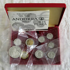 ANDORRA 2003 9 COIN SILVER PROOF EURO PROTOTYPE PATTERN SET - mint sealed
