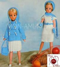 Knitting Pattern SINDY BARBIE DOLLS CLOTHES DUFFLE COAT SKIRT BAG DRESS CAP PDF