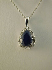 BLUE SAPPHIRE DIAMOND 14K WHITE GOLD PENDANT NECKLACE CHAIN MIDAS