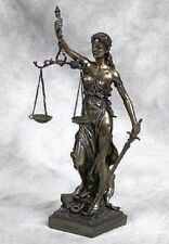 "Lady of Justice Statue with Scales and Sword 11"" Tall Desktop Shelf Decor Gift"