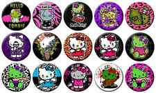 "HELLO KITTY ZOMBIE - Lot of 15 Pin Back 1"" Buttons Badges (One Inch) – Set"