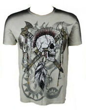 KONQUEST PLATINUM Men's Mohawk Skull with Axes Print T-Shirt Ecru (KQTS026)