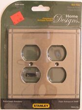 Stanley Steel Distressed Antique Pewter Dual Duplex Wall Plates S804-252 #6lg