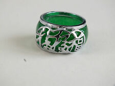CHINESE GREEN JADE SILVER PLATED - LUCK MEN WOMEN RING UK R US 8.75 19 PARTY C1