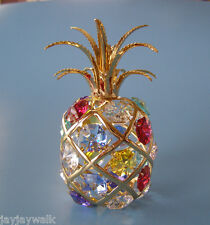 "SWAROVSKI CRYSTAL MULTI COLORED ELEMENTS  ""PINEAPPLE"" FIGURINE 24KT GOLD PLATED"
