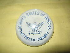 """USA DEPARTMENT OF THE NAVY domed glass paperweight 3"""", 1940s-50s Hard to Find!"""
