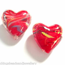 10 Red Lampwork Glass 20mm Puff Heart Beads