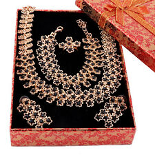 Women Bridal Wedding Black Crystal African Costume Dubai Jewelry Sets And Boxes