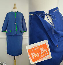 ORIGINAL 1960'S maternity COBALT BLUE green SKIRT SUIT wiggle MOD SCOOTER 10 12