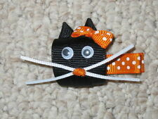 "NEW ""HALLOWEEN KITTY"" Girls Hair Bows Ribbon Sculpture Fall Festival Cat Kitten"