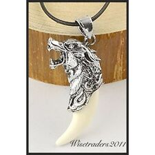 Brave Man Wolf Tooth Necklace Pendant White Wolf Fang Jewellery Gift Uk New