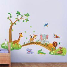 Jungle Wild Animals Bridge Wall Decals Sticker Vinyl Mural Kids Child Room Decor