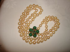 Vintage Two Strand 14kt Solid Gold Jade Emerald Sapphire Clasp Pearl Necklace