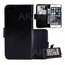 Black PU Leather Book Wallet Flip Folio Stand Case Cover For iPhone 5 5G 5S