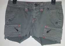NEW WOMENS ROCK ARMY GREEN CARGO SHORTS WITH ORANGE STITCHING SHORT SIZE 26