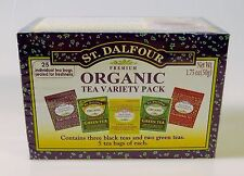 St. Dalfour Organic Tea Variety Pack Earl Grey Lemon Strawberry Green 25 Bags