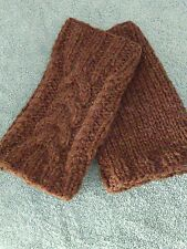 Hand Made 100% shetland wool hand knitted FINGERLESS GLOVE cable knit brown