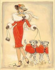 DALMATIAN COACH DOG ART PRINT - FASHION GLAMOUR LADY in RED - ART DECO style