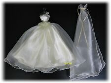 Wedding Gown Party Handmade Outfit for Barbie, Dolls Dress up Clothes Ivory, 3+y