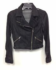 New Divine Rights of Denim Vintage Style Black Cotton Motorcycle Jacket Size M