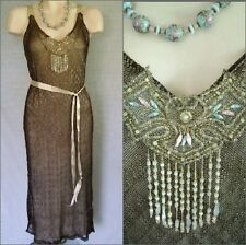 VINTAGE 1920'S EGYPTIAN DECO ASSUIT DRESS WITH METALLIC RIBBONS AND BEADED FRONT