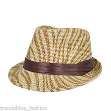 Light Brown Zebra Print Ribbon Band Fedora Straw Hat