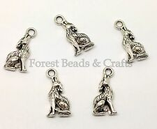 10 x Tibetan Silver Sitting Howling Wolf Charms ~ 20 x 10mm, Antique Silver (#2)