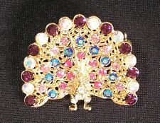 BROOCH/PIN Rich GT AB Iridescent Rhinestones PEACOCK