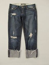 Joe's Jeans 28 Slouchy Raw Edge Cropped Gemma Dark distressed Denim Capri 23""