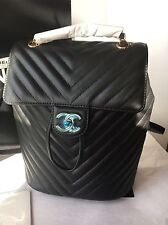 Auth BNIB Chevron Quilted Chanel Black Lambskin Urban Spirit Backpack Bag! Small