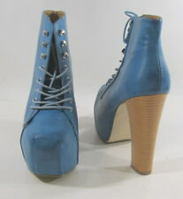 "Blue  5.5"" high heel 2.5"" platform round toe lace up  ankle sexy boot size 10"