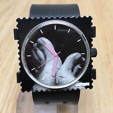 Vintage Stamp Style Foot On Dial Men Square Analog Quartz Watch Hour~New Battery