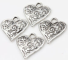 10pcs Tibet Silver Heart Loose Spacer Charms Pendants Jewelry Finding 15x16mm